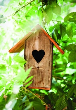 small wooden birdhouse with heart-shaped door cutout hanging among trees