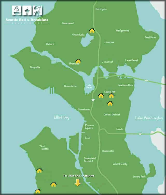Map of Seattle with little yellow hous eicons to represent bed and breakfasts