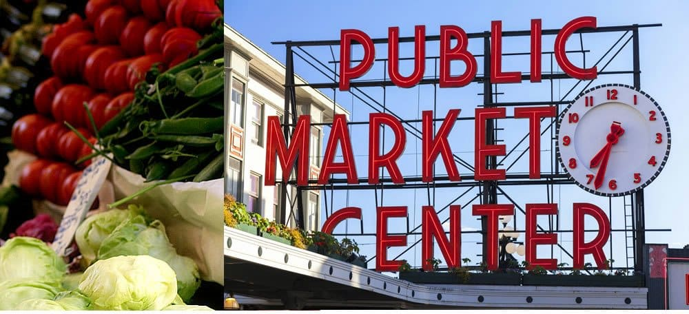 red sign showing the text public market center with image of